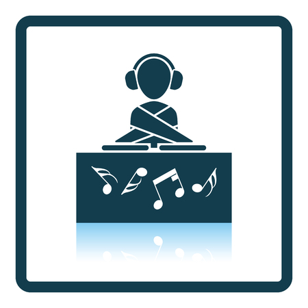 night club: Night club DJ icon. Glossy button design. Vector illustration.