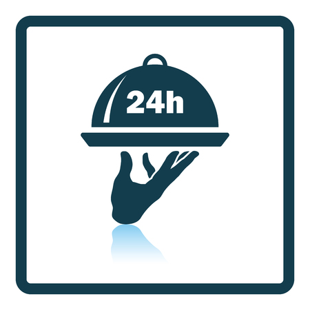 24 hour: 24 hour room service icon. Shadow reflection design. Vector illustration.