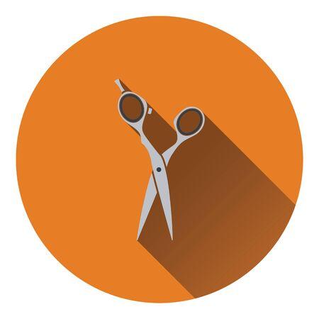 hair scissors: Hair scissors icon. Flat color design. Vector illustration.