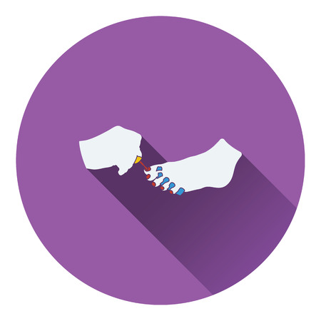 pedicure: Pedicure icon. Flat color design. Vector illustration.