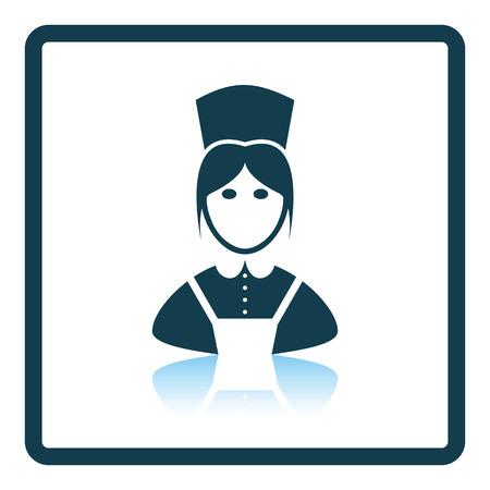 hotel staff: Hotel maid icon. Shadow reflection design. Vector illustration. Illustration