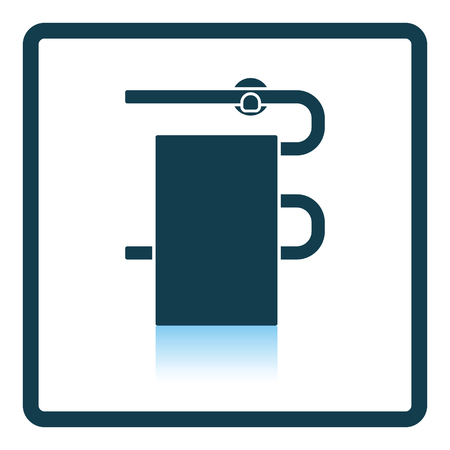 heated: Heated towel rail icon. Shadow reflection design. Vector illustration.