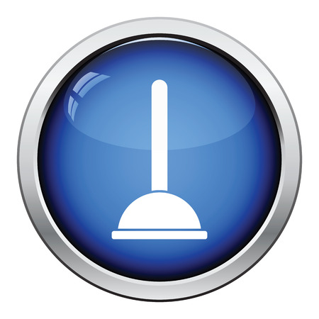unblock: Plunger icon. Glossy button design. Vector illustration.