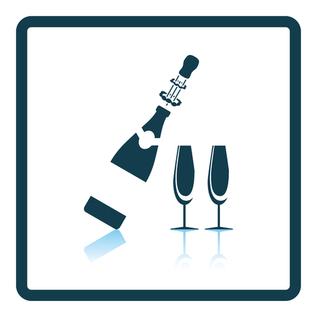 Party champagne and glass icon. Shadow reflection design. Vector illustration. Illustration
