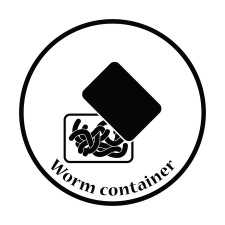 tackle box: Icon of worm container. Thin circle design. Vector illustration.