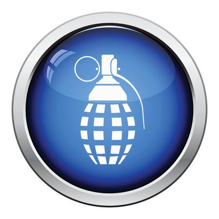 defensive: Defensive grenade icon. Glossy button design. Vector illustration.