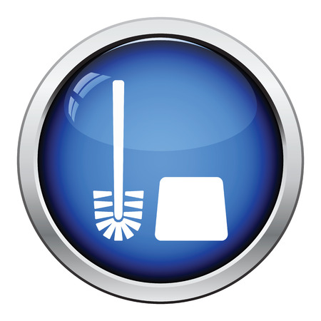 toilet brush: Toilet brush icon. Glossy button design. Vector illustration. Illustration