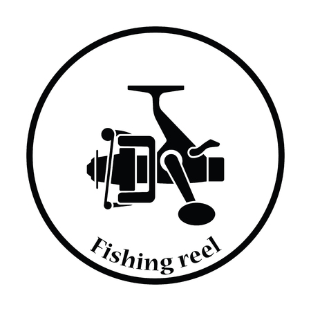Icon of Fishing reel . Thin circle design. Vector illustration.  イラスト・ベクター素材
