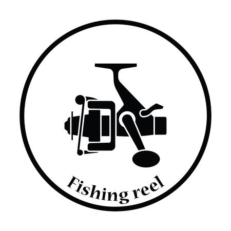 Icon of Fishing reel . Thin circle design. Vector illustration. Illustration