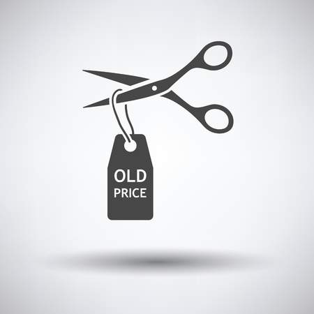 cost reduction: Scissors cut old price tag icon on gray background, round shadow. Vector illustration. Illustration