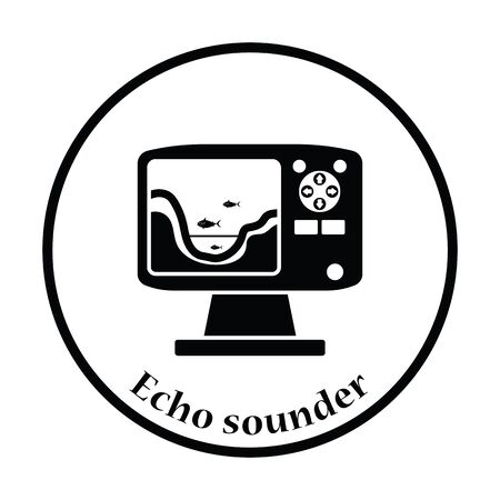 echo: Icon of echo sounder  . Thin circle design. Vector illustration.