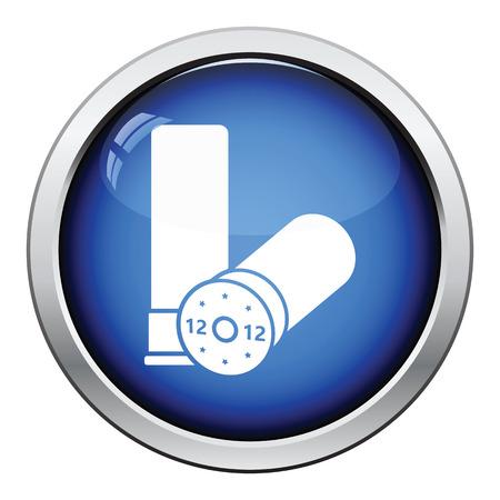 ammo: Hunt gun ammo icon. Glossy button design. Vector illustration.