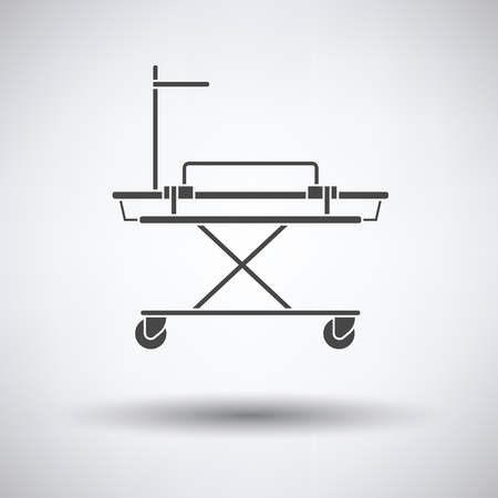 stretcher: Medical stretcher icon on gray background, round shadow. Vector illustration.