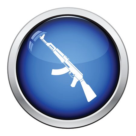 Rassian weapon rifle icon. Glossy button design. Vector illustration.