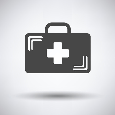 medical case: Medical case icon on gray background, round shadow. Vector illustration. Illustration