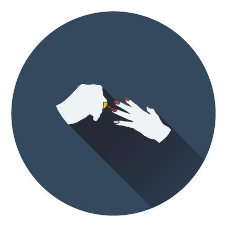 french manicure: Manicure icon. Flat color design. Vector illustration.