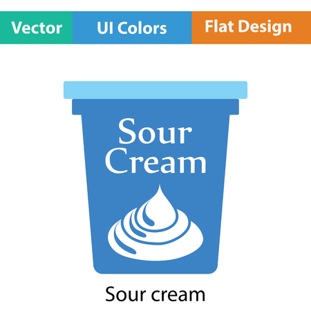 cream color: Sour cream icon. Flat color design. Vector illustration.