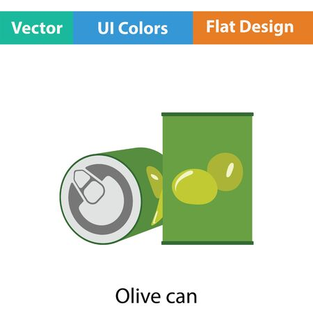 can: Olive can icon. Flat color design. Vector illustration.