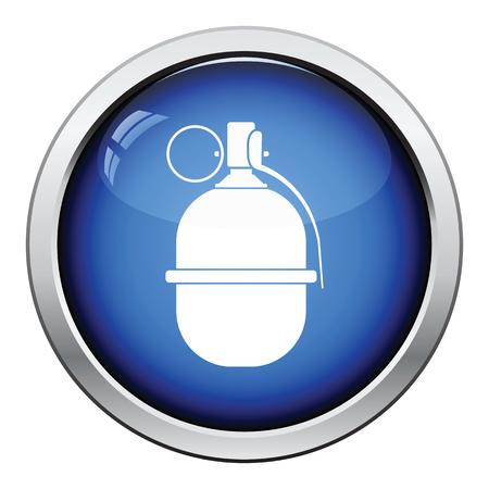 devastation: Attack grenade icon. Glossy button design. Vector illustration.