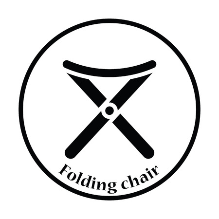 legged: Icon of Fishing folding chair. Thin circle design. Vector illustration.