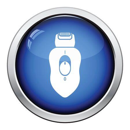 epilator: Depilator icon. Glossy button design. Vector illustration. Illustration