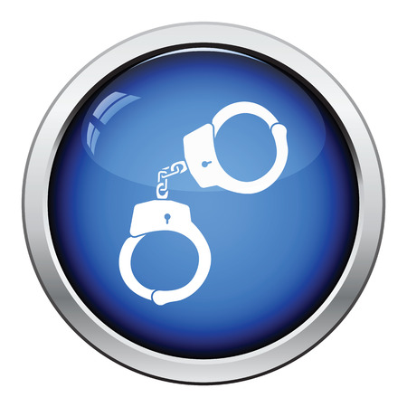 handcuff: Handcuff  icon. Glossy button design. Vector illustration.