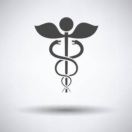 esculapio: Medicine sign icon on gray background, round shadow. Vector illustration. Vectores