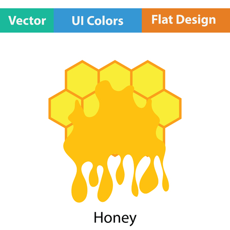 Honey icon. Flat color design. Vector illustration.