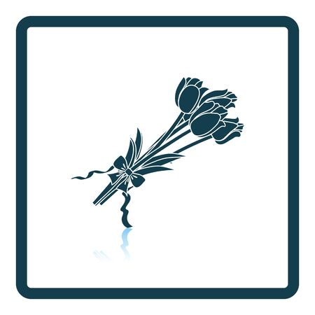 bouquet: Tulips bouquet icon with tied bow. Shadow reflection design. Vector illustration.