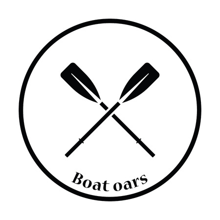 oars: Icon of  boat oars. Thin circle design. Vector illustration.