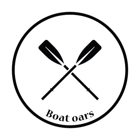 Icon of  boat oars. Thin circle design. Vector illustration.