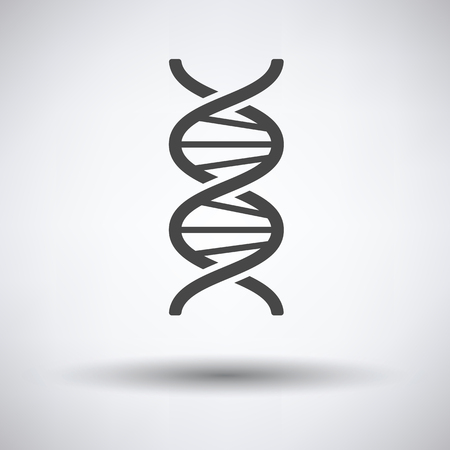 strand: DNA icon on gray background, round shadow. Vector illustration.