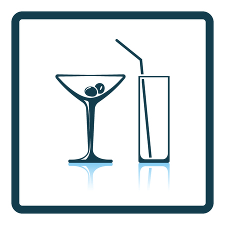 coctail: Coctail glasses icon. Glossy button design. Vector illustration. Illustration