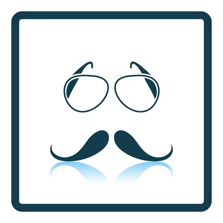 burly: Glasses and mustache icon. Shadow reflection design. Vector illustration.