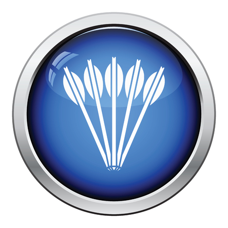 arbalest: Crossbow bolts icon. Glossy button design. Vector illustration.