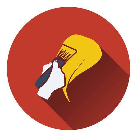 tinte cabello: Pintura icono de cabello. diseño de color plano. Ilustración del vector.