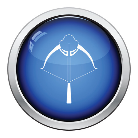 crossbow: Crossbow icon. Glossy button design. Vector illustration.