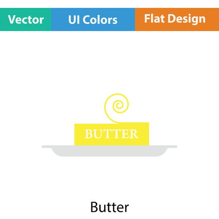 butterfat: Butter icon. Flat color design. Vector illustration.