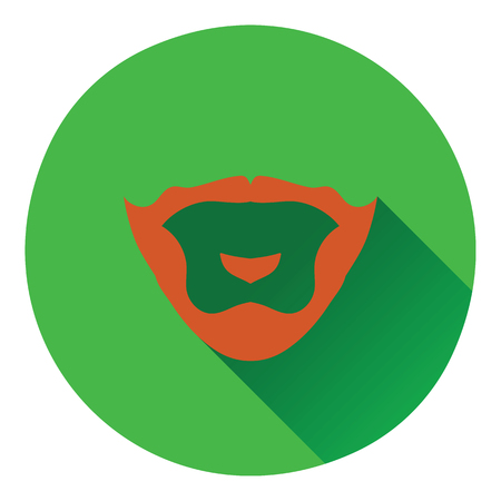 burly: Goatee icon. Flat color design. Vector illustration.