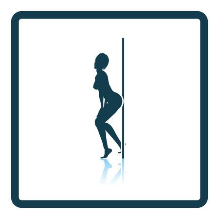 flexible sexy: Stripper night club icon. Glossy button design. Vector illustration. Illustration