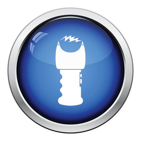 electroshock: Stun gun icon. Glossy button design. Vector illustration. Illustration