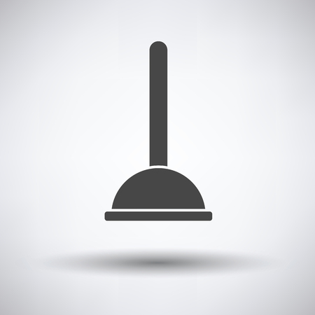 unblock: Plunger icon on gray background, round shadow. Vector illustration. Illustration