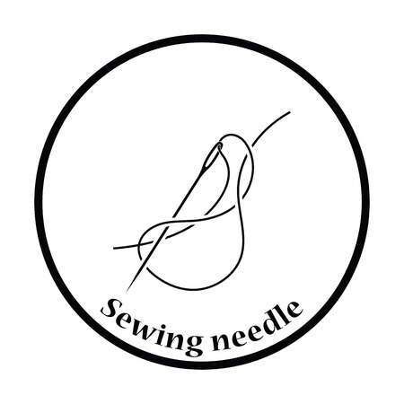 threads: Sewing needle with thread icon. Thin circle design. Vector illustration. Illustration
