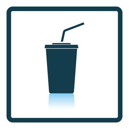 sip: Cinema soda drink icon. Shadow reflection design. Vector illustration.