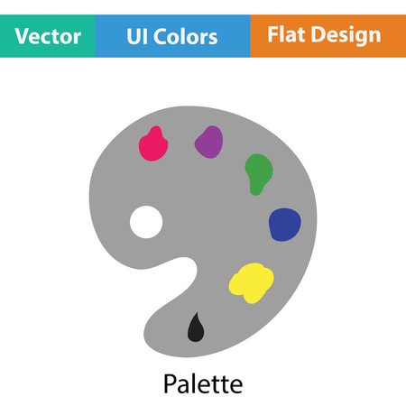 Palette icon. Flat color design. Vector illustration.