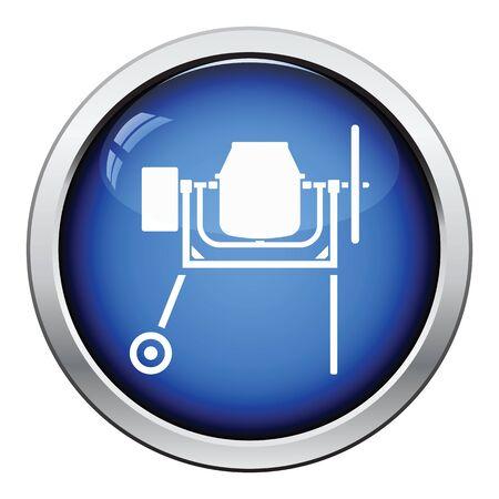 Icon of Concrete mixer. Glossy button design. Vector illustration.