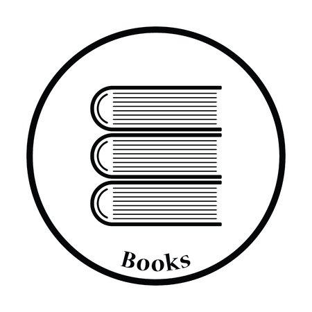 stack of documents: Icon of Stack of books. Thin circle design. Vector illustration.