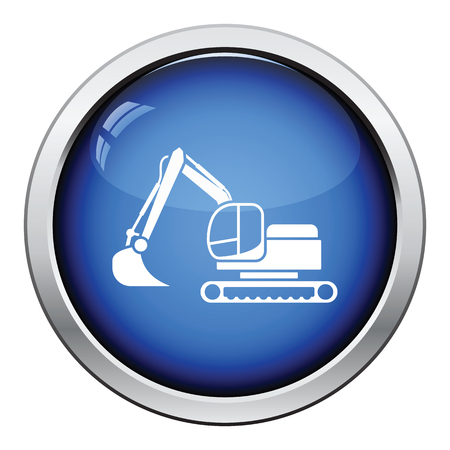 dredger: Icon of construction excavator. Glossy button design. Vector illustration.
