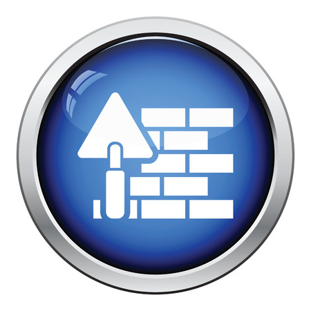 stone work: Icon of brick wall with trowel. Glossy button design. Vector illustration.
