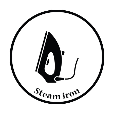 steam iron: Steam iron icon. Thin circle design. Vector illustration. Illustration